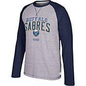 CCM Men's Buffalo Sabres Crew Heather Grey/Navy Long Sleeve Shirt