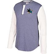 CCM Men's San Jose Sharks Henley Grey Long Sleeve Shirt