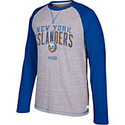 CCM Men's New York Islanders Crew Heather Grey/Royal Long Sleeve Shirt
