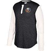 CCM Men's New York Islanders Henley Heather Grey Long Sleeve Shirt