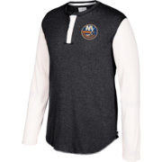 CCM Men's New York Islanders Henley Heather Grey Long Sleeve Shirt