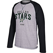 CCM Men's Dallas Stars Crew Heather Grey/Black Long Sleeve Shirt