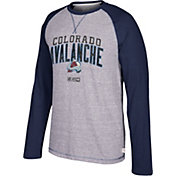 CCM Men's Colorado Avalanche Crew Heather Grey/Navy Long Sleeve Shirt
