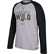CCM Men's Minnesota Wild Crew Heather Grey/Black Long Sleeve Shirt