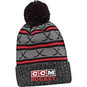 CCM 3-Block Pom-Pom Knit Beanie