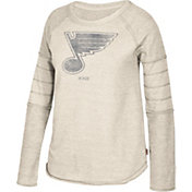 CCM Women's St. Louis Blues Grey Raglan Long Sleeve Shirt
