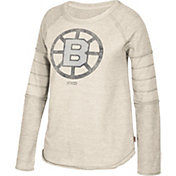 CCM Women's Boston Bruins Grey Raglan Long Sleeve Shirt