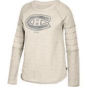 CCM Women's Montreal Canadiens Grey Raglan Long Sleeve Shirt