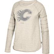 CCM Women's Calgary Flames Grey Raglan Long Sleeve Shirt