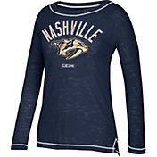 CCM Women's Nashville Predators Paint Chip Grey Long Sleeve Shirt