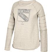CCM Women's New York Rangers Grey Raglan Long Sleeve Shirt