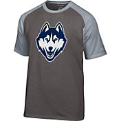 Champion Men's UConn Huskies Grey Big Logo T-Shirt