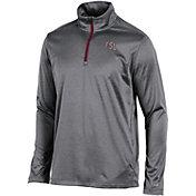 Champion Men's Florida State Seminoles Grey Knit Mesh Quarter-Zip Shirt