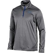 Champion Men's Kansas Jayhawks  Grey Knit Mesh Quarter-Zip Shirt