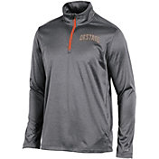 Champion Men's Oklahoma State Cowboys Grey Knit Mesh Quarter-Zip Shirt