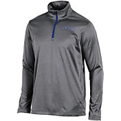 Champion Men's Kentucky Wildcats Grey Knit Mesh Quarter-Zip Shirt