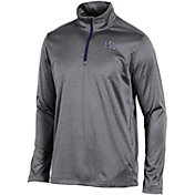 Champion Men's LSU Tigers Grey Knit Mesh Quarter-Zip Shirt