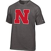 Champion Men's Nebraska Cornhuskers Grey Big Logo T-Shirt