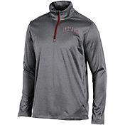 Champion Men's Indiana Hoosiers Grey Knit Mesh Quarter-Zip Shirt