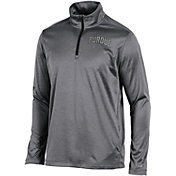 Champion Men's Purdue Boilermakers Grey Knit Mesh Quarter-Zip Shirt