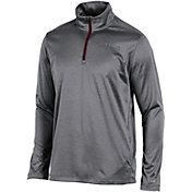 Champion Men's Virginia Tech Hokies  Grey Knit Mesh Quarter-Zip Shirt