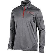 Champion Men's Wisconsin Badgers Grey Knit Mesh Quarter-Zip Shirt
