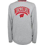 Champion Wisconsin Badgers Grey Pursuit Long Sleeve Shirt