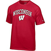 Champion Men's Wisconsin Badgers Red Word Logo T-Shirt