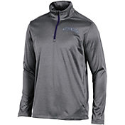 Champion Men's Washington State Cougars Grey Knit Mesh Quarter-Zip Shirt