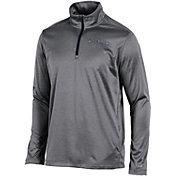 Champion Men's West Virginia Mountaineers Grey Knit Mesh Quarter-Zip Shirt