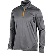 Champion Men's Wyoming Cowboys Grey Knit Mesh Quarter-Zip Shirt
