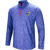 Colosseum Men's Kansas Jayhawks Blue Action Pass Quarter-Zip Shirt