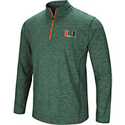 Colosseum Men's Miami Hurricanes Green Action Pass Quarter-Zip Shirt