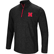 Colosseum Men's Nebraska Cornhuskers Black Action Pass Quarter-Zip Shirt