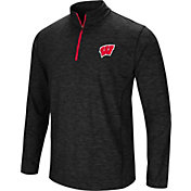 Colosseum Men's Wisconsin Badgers Black Action Pass Quarter-Zip Shirt