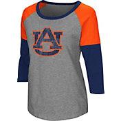 Colosseum Women's Auburn Tigers Grey Raglan T-Shirt