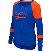 Colosseum Women's Boise State Broncos Blue Routine Raglan Long Sleeve T-Shirt