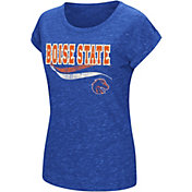 Colosseum Athletics Women's Boise State Broncos Blue Speckled Yarn T-Shirt
