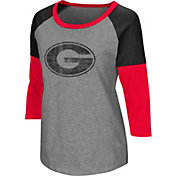 Colosseum Women's Georgia Bulldogs Grey Raglan T-Shirt