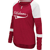 Colosseum Women's Oklahoma Sooners Crimson Routine Raglan Long Sleeve T-Shirt