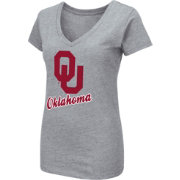 Colosseum Women's Oklahoma Sooners Grey Dual Blend V-Neck T-Shirt