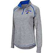 Colosseum Women's Kansas Jayhawks Grey Bikram Quarter-Zip Top