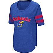 Colosseum Women's Kansas Jayhawks Blue Bean Babbitt Raglan T-Shirt