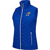 Colosseum Women's Kansas Jayhawks Blue Elite Quilted Full-Zip Vest