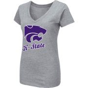 Colosseum Women's Kansas State Wildcats Grey Dual Blend V-Neck T-Shirt