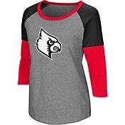 Colosseum Women's Louisville Cardinals Grey Raglan T-Shirt