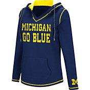 Colosseum Women's Michigan Wolverines Blue Spike Fleece Hoodie