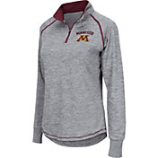 Colosseum Women's Minnesota Golden Gophers Grey Bikram Quarter-Zip Top