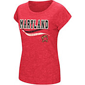 Colosseum Athletics Women's Maryland Terrapins Red Speckled Yarn T-Shirt