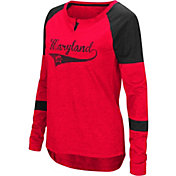 Colosseum Women's Maryland Terrapins Red Routine Raglan Long Sleeve T-Shirt